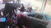 Otomobil markete daldı: Market sahibi havaya savruldu