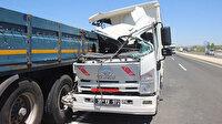 Kayseri'de feci kaza: TIR'a çarpan kamyondaki kişinin kolu koptu