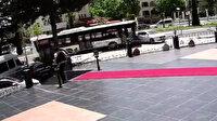 Otobüsün çarptığı otomobilin metrelerce sürüklenmesi kamerada