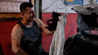 Aracı parçalayarak 8 saatte kediyi sıkıştığı yerden kurtardılar