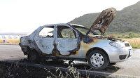 Eşiyle tartışıp indiği araçta yanar halde düşürdüğü sigara aracını kül etti