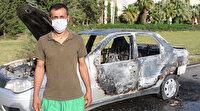 Eşiyle tartıştı indiği araçta yanan sigara arabayı kül etti
