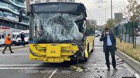 Pendik'te İETT otobüsü sulama aracına çarptı: 7 yaralı