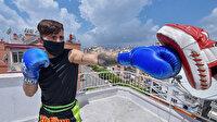 Avrupa şampiyonu evini ring yaptı: Terasta rakiplerine meydan okuyor