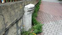 Tarihe tanıklık eden Roma döneminden kalan sütun, bahçe duvarında kullanıldı