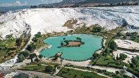Dünyaca ünlü Pamukkale'den yaklaşık 400 kamyon çamur çıkartıldı