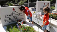 Şehit çocuğunun, babasının mezarı başındaki sözleri yürek burktu: Babam inşallah gelir