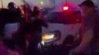 Polis aracını göstericilerin üzerine sürdü