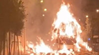 Erzurum'da ot yüklü kamyon mahalle ortasında alev alev yandı