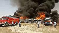 İran'daki bir otoparkta onlarca araç alev alev yandı: Çıkan yangında 4 kişinin yaralandığı belirtildi
