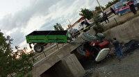 Kontrolden çıkan traktör köprüden aşağı düştü: 3 yaralı