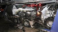 Erzincan'da sıfır araç yüklü seyir halindeki TIR yandı