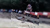 Trabzon'da şiddetli yağış nedeniyle mahsur kalan vatandaşlar böyle kurtarıldı