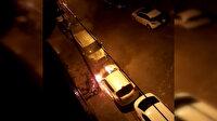 Gaziosmanpaşa'da kundaklanan araç alev alev yandı