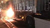 Seyir halindeki kömür yüklü TIR alev aldı: Diğer sürücüler faciayı önledi