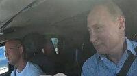 Rusya lideri Putin yolu denetlemek için direksiyona geçti