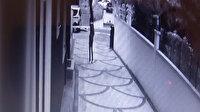 Arkadaşının omzuna basarak birinci kattaki evin balkonuna tırmanan hırsız kamerada