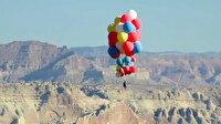 Nefes kesen deneme: Balonlarla dokuz kilometre göğe yükseldi