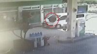 Kırıkkale'de seyir halindeki araçtan çıkan lastik akaryakıt istasyonuna daldı
