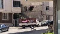 Arnavutköy'de akıl almaz görüntü: Koltuğu beşinci katın penceresinden fırlattı