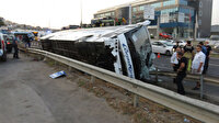Pendik'te yolcu otobüsü devrildi