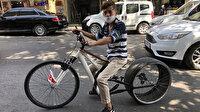Bisikletine taktığı otomobil lastiği ile ilgi odağı oldu