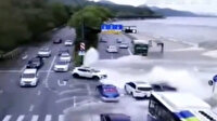 Çin'de dev gelgit dalgaları otoyola kadar ulaştı