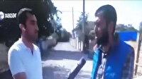 Xəzər Xəbər canlı yayında Azerbaycanlı sivillerle röportaj yaparken yanlarına havan topu düştü