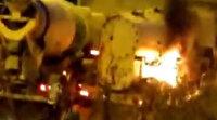 Seyir halindeki hafriyat kamyonu yandı