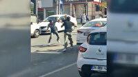 Ankara'nın göbeğinde iki trafik magandasının sopalı kavgası kamerada