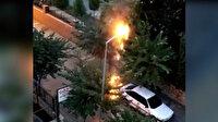 Edremit'te sokak lambasının adeta mum gibi eridiği anlar kamerada