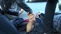 Motosikletlinin elini bir an olsun bırakmadı: D-100'de kaza yapan sürücünün ayağı jant tellerine sıkıştı