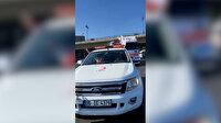 Azerbaycan halkı Kızılay'ın gönderdiği TIR'ı görünce arabalarını park edip selam durdu