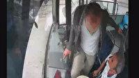İstediği yerde inmek isteyen yolcu otobüsün frenine bastı: Şoför faciayı önledi