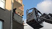 Sultangazi'de bir binada çıkan yangında mahsur kalan 30 kişi itfaiye ekipleri tarafından böyle kurtarıldı