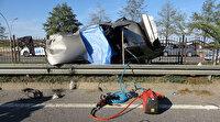 Hurdaya dönen aracın kadın sürücüsü öldü araçtaki 3 çocuk yola fırladı