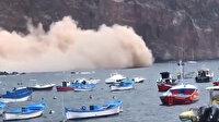 Deprem gibi güpegündüz çöktü: İspanya'daki adada kopan kaya kütlesi korkuttu