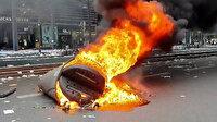 Paris'te sokağa çıkma kısıtlaması protesto edildi: Bank ve çöp bidonları ateşe verildi
