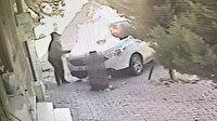 Esenyurt'ta park halindeki aracın kundaklanması kamerada
