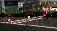 İstanbul'da akılamaz görüntüler: Demirlerden emekleyerek karşıya geçen vatandaşlar ölüme davetiye çıkardı