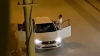 Antalya'da otomobil içerisindeki kadının yüzüne tekme atan vahşi adam kamerada