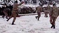 Ermenistan işgalinden kurtarılan Hocavend'de Azerbaycanlı askerlerin kartopu savaşı