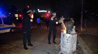 Soğuk havada görev yapan polislere çorba ikram etti