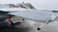 Savaş uçağı soğuktan buz tuttu