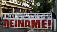 Yunan sendikacılar Miçotakis'e karşı ayaklandı: Başbakanlık binasının önünde 'Açız' pankartı açtılar