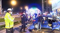 Şişli'de zincirleme kaza: Makas atarak ilerleyen araç takla attı