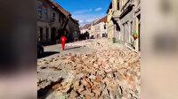 Hırvatistan'da 6,3 büyüklüğünde deprem: Yıkılan binalardan ilk görüntüler
