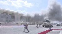 Yemen'de bakanları taşıyan uçak aprona geldiği sırada patlama oldu