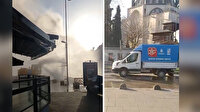 Üsküdar'da İSKİ ekiplerinin çalışması sırasında su borusu patladı: Metrelerce yükselen sular caddeyi göle çevirdi