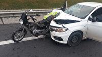 TEM Otoyolu'nda feci kaza: Motosiklet otomobilin önüne saplandı